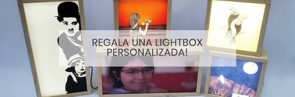 Lámpara personalizada con tu foto y textos. Regala una caja de luz con foto.